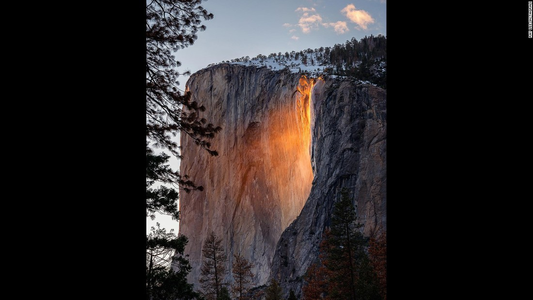 "The mesmerizing phenomenon ""firefall"" illuminates Horsetail Fall in California's Yosemite National Park on Monday, February 13. <a href=""http://www.cnn.com/2017/02/14/travel/firefall-yosemite-national-park-trnd/"" target=""_blank"">The natural effect</a> gives the illusion that bright orange lava is flowing off the cliff. It comes to life when the angle of the setting sun causes light to hit the waterfall just right."
