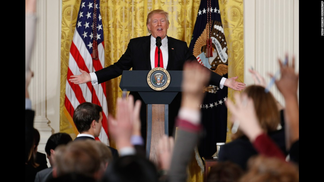 "US President Donald Trump speaks during a news conference in the East Room of the White House on Thursday, February 16. Trump <a href=""http://www.cnn.com/2017/02/16/politics/donald-trump-press-conference-amazing-day-in-history/index.html"" target=""_blank"">lashed out</a> against the media and what he called fake news as he displayed a sense of anger and grievance rarely vented by a president in public. He said he resented reports that his White House was in chaos. ""This administration is running like a fine-tuned machine,"" he said."