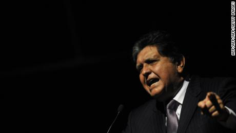 The former president of Peru, Alan Garcia, speaks during the First International Meeting of the Pacific Basin, in Cali, Colombia, on October 5, 2011. During the meeting, the policies of the Colombian government towards the countries of the Pacific Basin will be announced, and the commercial exchange between all of them will also be dealt.   AFP PHOTO/Luis ROBAYO (Photo credit should read LUIS ROBAYO/AFP/Getty Images)