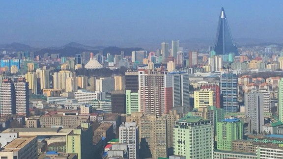 """CNN's Will Ripley posted this photo of the Pyongyang skyline on February 17. """"Note the 105-story pyramid skyscraper, the Ryugyong Hotel. Work began in 1987. Still unfinished,"""" Ripley said <a href=""""https://www.instagram.com/p/BQmQp1Zg-kI/"""" target=""""_blank"""" target=""""_blank"""">in his Instagram post.</a>"""