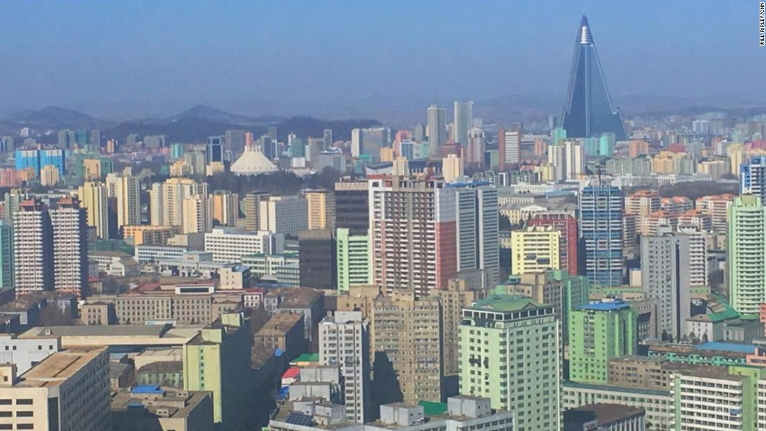 "CNN's Will Ripley posted this photo of the Pyongyang skyline on February 17. ""Note the 105-story pyramid skyscraper, the Ryugyong Hotel. Work began in 1987. Still unfinished,"" Ripley said <a href=""https://www.instagram.com/p/BQmQp1Zg-kI/"" target=""_blank"">in his Instagram post.</a>"
