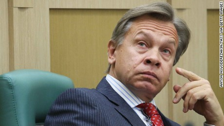 Alexey Pushkov, pictured in November, is an outspoken Russian senator.