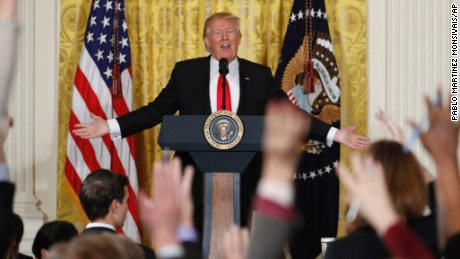 President Donald Trump speaks during a news conference, Thursday, Feb. 16, 2017, in the East Room of the White House in Washington. (AP Photo/Pablo Martinez Monsivais)