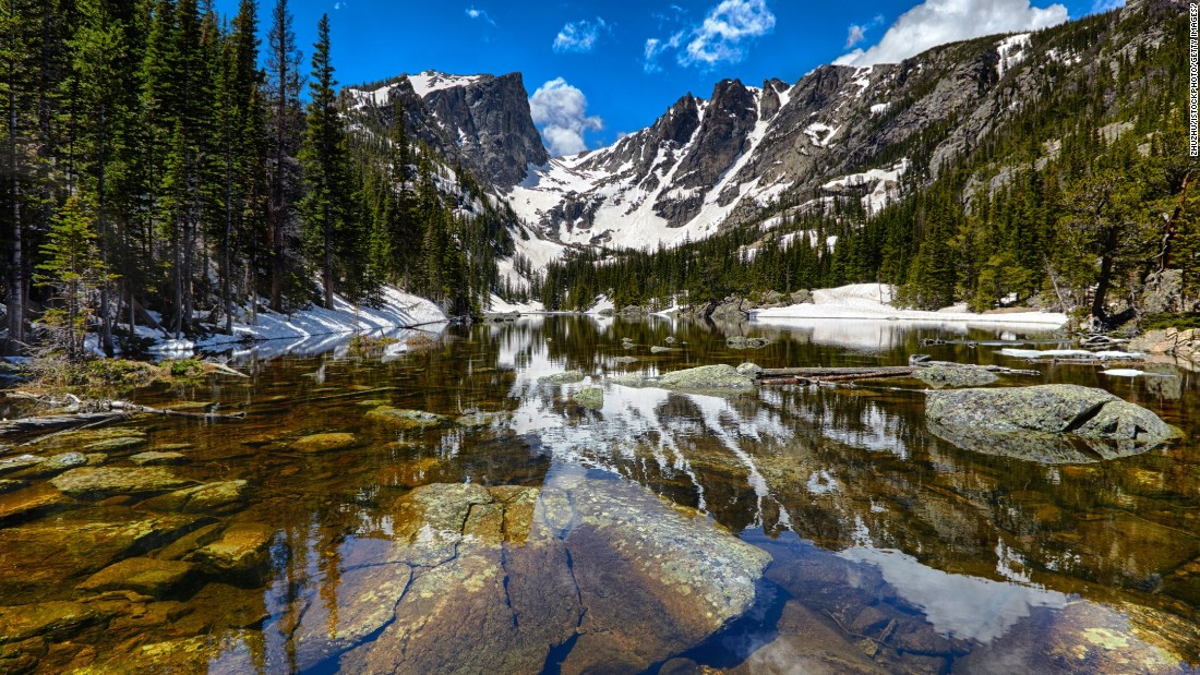<strong>4. Rocky Mountain National Park, Colorado:</strong> This 415-square-mile park's elevation ranges from 7,600 feet to 14,259 feet, and the park is home to 77 peaks above 12,000 feet. The park, which hosts a diversity of animal and plant life, also straddles the Continental Divide. Dream Lake is shown here.
