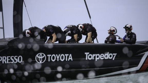 15/2/17- Emirates Team New Zealand sail their America's Cup Class race boat for the second day in Auckland New Zealand