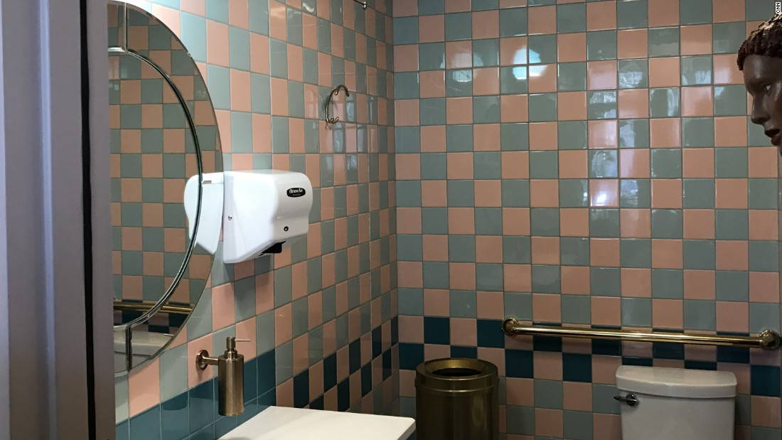 A look at the bathroom inside the Rue La Rue Café. Do those tiles look familiar?
