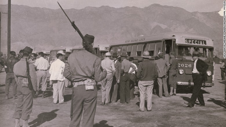 A scene from the Manzanar internment camp in California in 1942.
