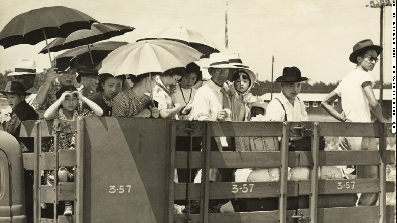 Japanese Americans are pictured at the Jerome concentration camp in Arkansas on June 18, 1944.