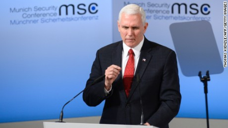 US Vice President Michael Richard Pence delivers a speech on the 2nd day of the 53rd Munich Security Conference in Munich, Germany, on February 18, 2017.
