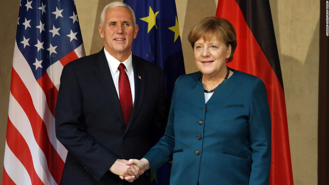 "US Vice President Mike Pence and German Chancellor Angela Merkel shake hands at the 2017 <a href=""http://www.cnn.com/2017/02/18/politics/pence-munich-russia-foreign-policy/"" target=""_blank"">Munich Security Conference</a> on February 18, in Germany."