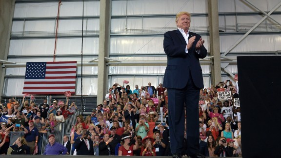 """President Donald Trump waits to speak at his """"Make America Great Again Rally"""" at Orlando-Melbourne International Airport in Melbourne, Fla., Saturday, Feb. 18, 2017. Trump is launching his 2020 re-election campaign just 1,354 days before the 2020 election. (AP Photo/Susan Walsh)"""
