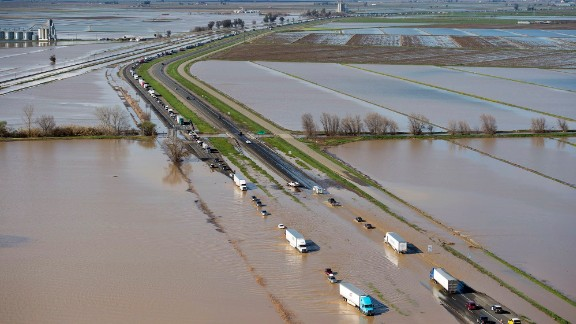 Floodwaters cross over Interstate 5 at Williams, backing up traffic in both north and southbound lanes for hours on Saturday, February 18.