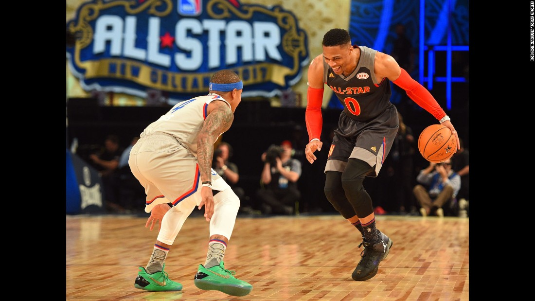 Westbrook faced off against East guard Isaiah Thomas. Westbrook finished the game with seven assists and five rebounds.