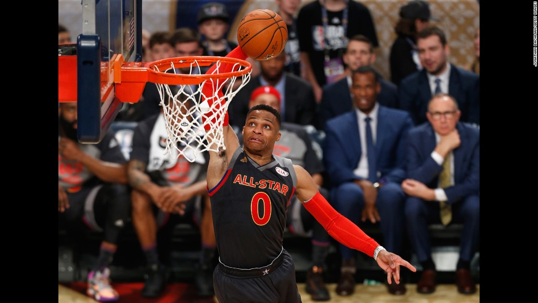 Westbrook was last year's All-Star MVP. This year, he nearly tied Chamberlain's 42-point All-Star Game record -- scoring 41 points.