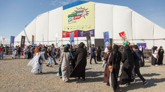 People arrive at Saudi Arabia's first Comi Con.