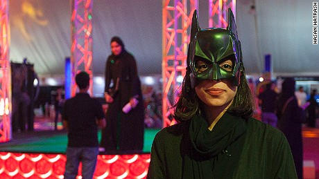 Fatima Mohammed Hussein dressed as Bat Girl at Saudi Arabia's first Comi Con event.