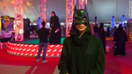 A woman dressed as Bat Girl at Saudi Arabia's first Comi Con event.