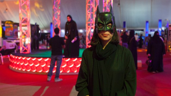 Fatima Mohammed Hussein dressed as Bat Girl at Saudi Arabia
