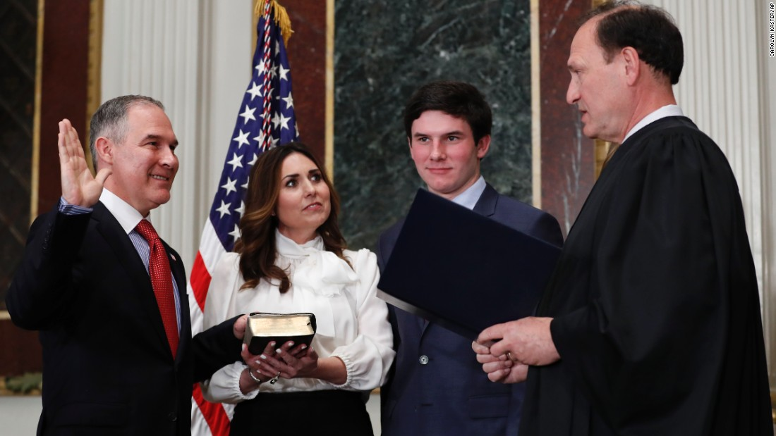 "Supreme Court justice Samuel Alito swears in Scott Pruitt as the new administrator of the Environmental Protection Agency on Friday, February 17. Holding the Bible is Pruitt's wife, Marlyn, and they were joined by their son, Cade. Pruitt, the former attorney general of Oklahoma, <a href=""http://www.cnn.com/2017/02/17/politics/senate-epa-scott-pruitt/"" target=""_blank"">was confirmed by the Senate 52-46.</a>"