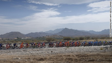 The peloton rides during the first stage of the Tour of Oman's 8th edition.