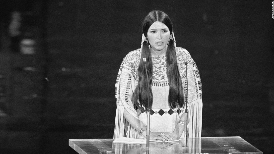 """Hello. My name is Sacheen Littlefeather. I'm Apache and I am president of the National Native American Affirmative Image Committee. I'm representing Marlon Brando this evening and he has asked me to tell you in a very long speech, which I cannot share with you presently because of time but I will be glad to share with the press afterwards, that he very regretfully cannot accept this very generous award. And the reasons for this being are the treatment of American Indians today by the film industry ... and on television in movie reruns, and also with recent happenings at Wounded Knee...."" -- Sacheen Littlefeather (aka Marie Cruz), declining the best actor award at the 45th Academy Awards on behalf of Marlon Brando on March 27, 1973 at Dorothy Chandler Pavilion"