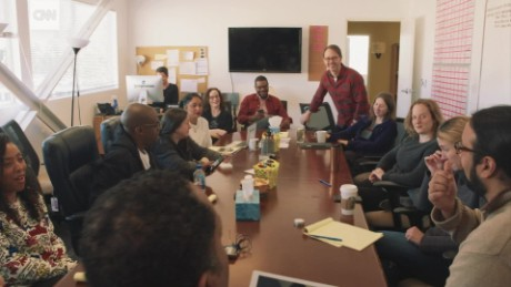 "The writers of the ABC sitcom ""Black-ish"" share ideas as they get to work on a new episode."
