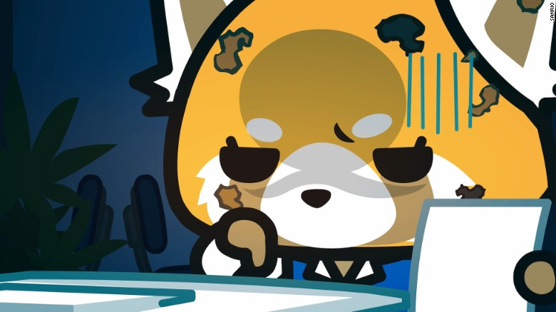 aggretsuko hello kitty s beer swilling heavy metal loving angry