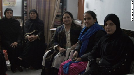 Farha, far right, says her husband divorced her last year by saying Talaq three times.