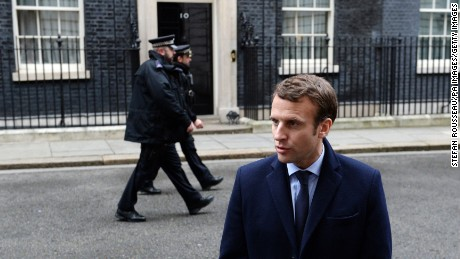 French presidential candidate Emmanuel Macron  outside 10 Downing Street, London, on February 21.