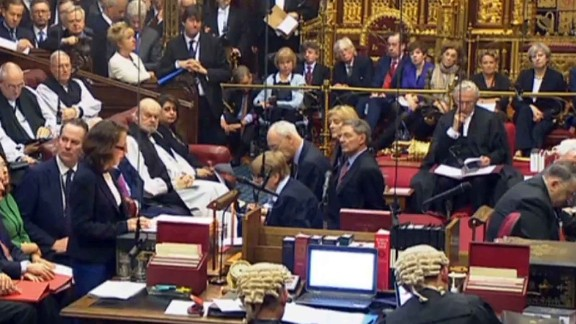 Prime Minister Theresa May, top right, in the House of Lords during a debate on the Brexit bill.