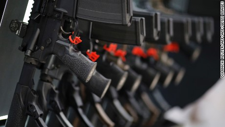 A row of rifles is seen on display at a National Rifle Association outdoor sports trade show on February 10, 2017 in Harrisburg, Pennsylvania. The Great American Outdoor Show, a nine day event celebrating hunting, fishing and outdoor traditions, features over 1,000 exhibitors ranging from shooting manufacturers to outfitters to fishing boats and RVs, and archery to art.   / AFP / DOMINICK REUTER        (Photo credit should read DOMINICK REUTER/AFP/Getty Images)