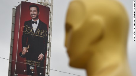 An Oscar statue is seen as preparations get underway for the 89th Annual Academy Awards February 20, 2017 in Hollywood, California.  The 2017 Oscars, hosted by Jimmy Kimmel, will take place at the Dolby Theatre in Hollywood, California on February 26, 2017.