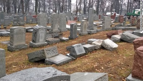Ron Glazer went to the Chesed Shel Emeth Society on Tuesday to see if his parents' and grandparents' graves had been vandalized. They weren't touched, but he saw this damage in another part of the cemetery.