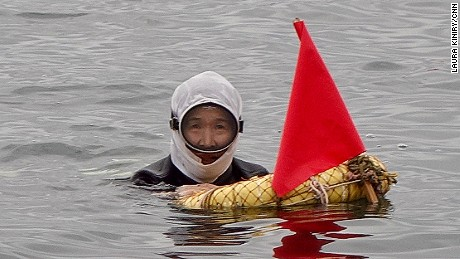 Sayuri Nakamura, 64, is part of a team of five female Ama divers that hunt for seafood almost daily in the waters in and around Japan's Toba City. They spend between 1.5-2 hours each morning in the sea, free-diving for everything from sea cucumbers, seaweed and turban shells to their prize catch: abalone.