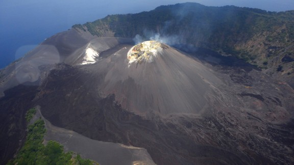 An undated photo of the volcano crater.