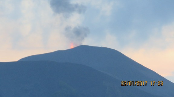 The volcano erupting on January 23.