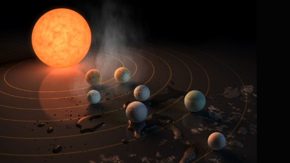 Their rendering of the TRAPPIST-1 star, an ultra-cool dwarf, shows the seven Earth-size planets that were discovered orbiting it. The design also shows where planets lie in the habitable zone around the planet. Ice around the outside of the image indicates it's too cold there for water to maintain liquid form, while steam close to the star shows its too hot.