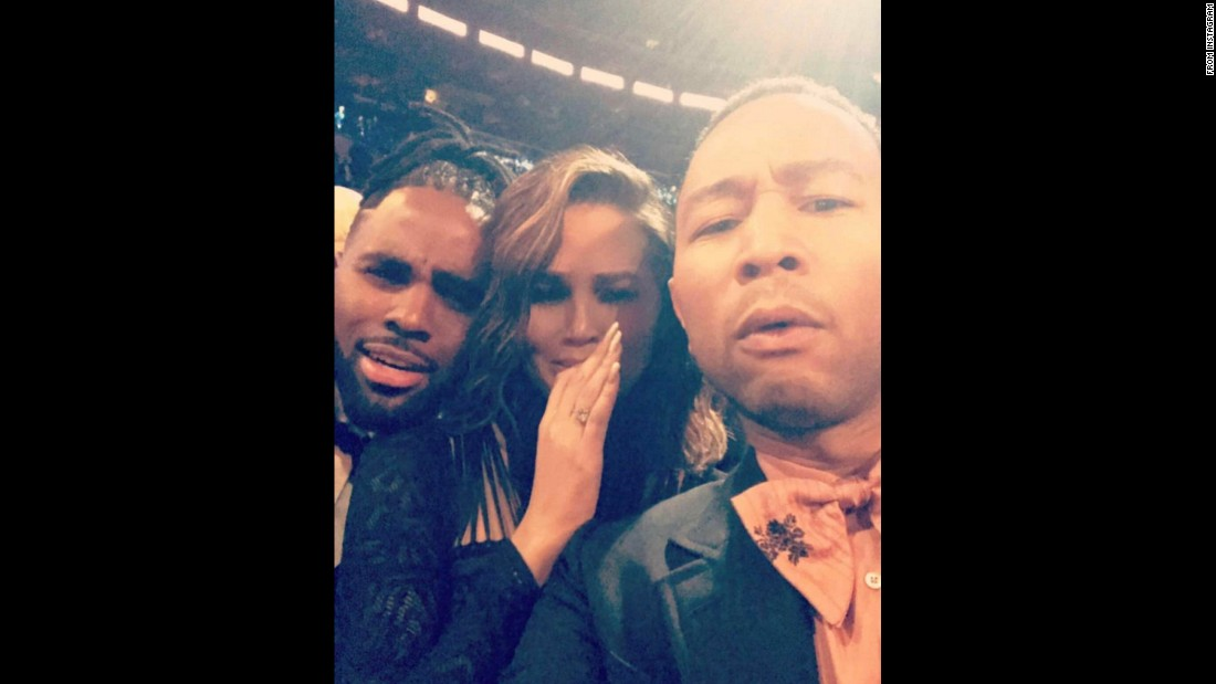 "Model Chrissy Teigen posted this selfie from <a href=""http://www.cnn.com/2017/02/12/entertainment/gallery/grammys-2017-winners/index.html"" target=""_blank"">the Grammy Awards</a> on February 12. ""Grammys. Beyonce. Done,"" <a href=""https://www.instagram.com/p/BQbzaUWAJk9/"" target=""_blank"">she said on Instagram.</a> Joining her in the selfie are singers Jason Derulo, left, and John Legend (her husband)."