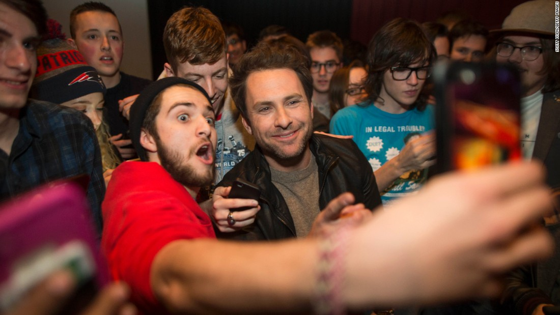 "A fan takes a selfie with actor Charlie Day before a ""Fist Fight"" screening in Boston on February 6."