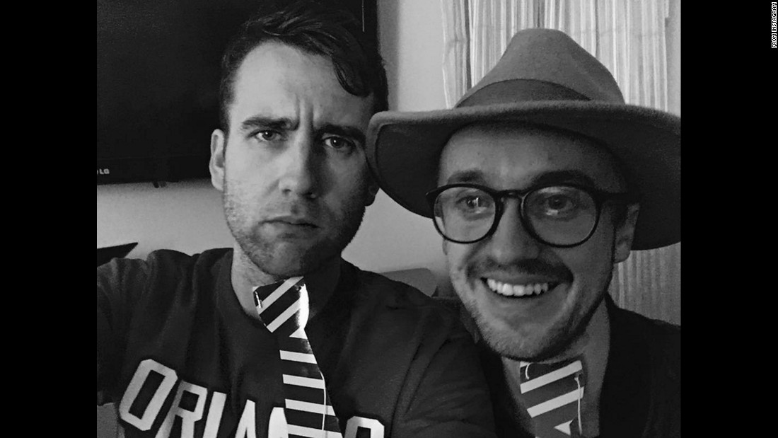 "Actor Matthew Lewis, left, takes a selfie with his former ""Harry Potter"" co-star Tom Felton on Wednesday, February 1. ""He's a truly good man, some say the purest of us all, and I was really much happier to see him than I like to let on,"" <a href=""https://www.instagram.com/p/BP-lHi5DiXx/"" target=""_blank"">Lewis said on Instagram.</a>"