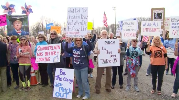 Town hall protests