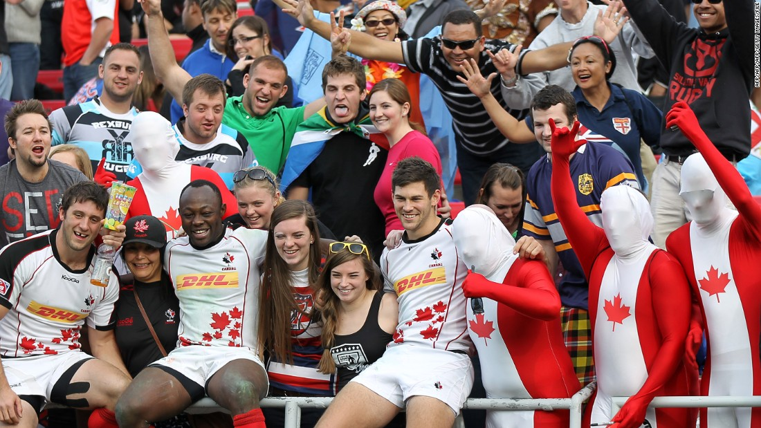 Players get close to the crowds in Vegas. Here members of the Canadian team pose with fans following a 2014 match against Samoa.