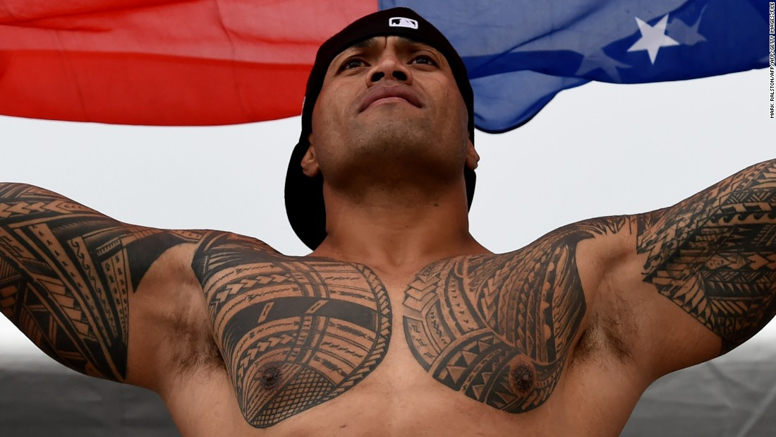 The 2016 tournament was broadcast on NBC and its Sports Network. It reportedly reached national and international audiences in over 400 million homes and 147 countries. Here a Samoan rugby fan supports his team in 2016.