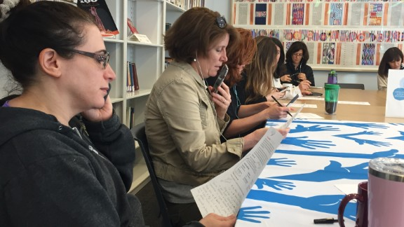 Volunteers call elected officials at the Temple Israel of Hollywood