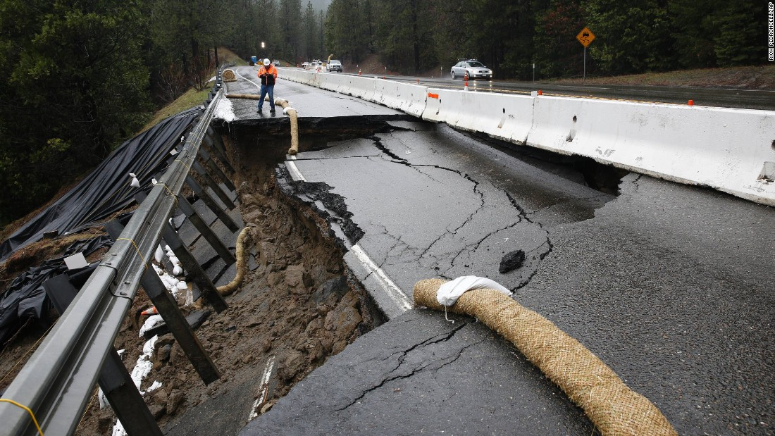 Part of the shoulder and one lane of westbound Highway 50 gave way on February 21, near Pollock Pines after heavy rains in the area.
