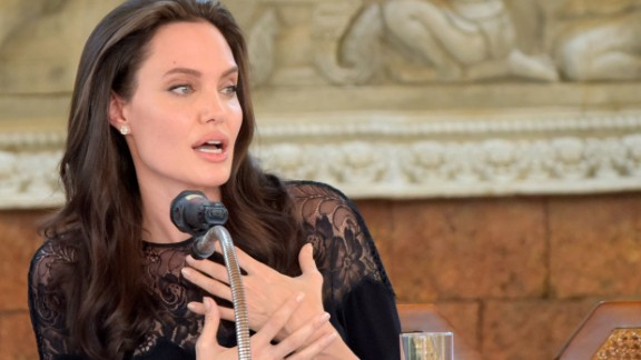"Angelina Jolie speaks to media about her new film ""First They Killed My Father."""
