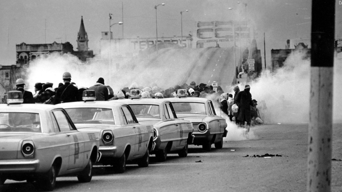 "About 600 people began a 50-mile march from Selma to the state Capitol in Montgomery on March 7, 1965. But as they descended to the foot of the Edmund Pettus Bridge in Selma, state troopers used brutal force and tear gas to push them back. The incident is now known as <a href=""http://www.cnn.com/2015/01/06/us/gallery/selma-bloody-sunday-1965/index.html"" target=""_blank"">""Bloody Sunday.""</a>"