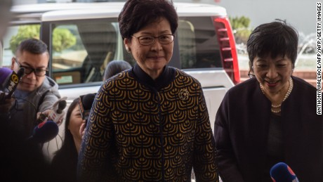 Carrie Lam, candidate to be Hong Kong's next leader, arrives in court last week to testify for Donald Tsang's defense.