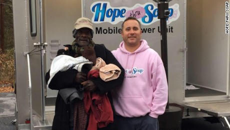 """Every homeless person has a story,"" says Jason Winter, right, founder of Hope Thru Soap."
