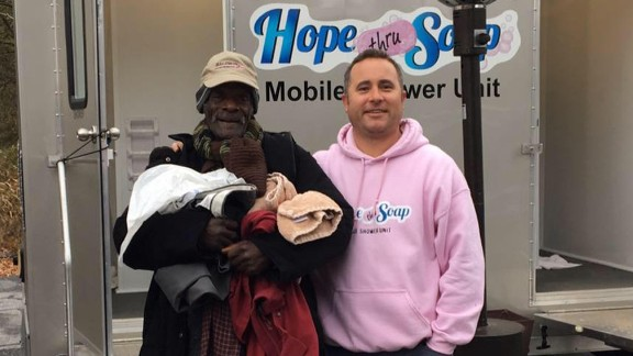 """""""Every homeless person has a story,"""" says Jason Winter, right, founder of Hope Thru Soap."""
